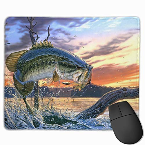 Mouse Pad Fishing Bass Mouth Mousepad Non-Slip Rubber Gaming Mouse Mat Rectangle Mouse Pads for Computers Laptop