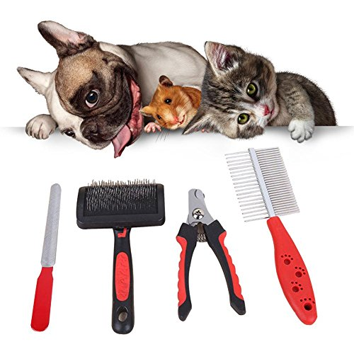 Sue-Supply 4 STKS Professionele huisdier Grooming Kit Katten en Honden RVS Platte Haarborstel en Dubbelzijdige kam Set Optioneel voor het opruimen van haar Tangles Nagels Gereedschap