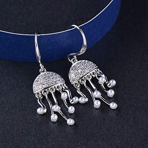 EHXWL Pendientes Colgantes de Perlas de Medusa de mar de diseño Oro Amarillo Color Plata Pendientes de Boda de Cristal minúsculo Joyas de Mujer