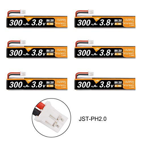Makerstack 6pcs 300mah 1S HV 3,8V Lipo Batterie 30C JST-PH 2.0 PowerWhoop mCPX-Anschluss Wiederaufladbare 1S LiPo-Batterie für Tiny Whoop Micro FPV Racing Drone