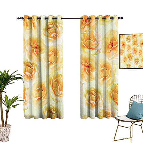 Anyangeight Roses Decorations Collection Living Room Window Curtain Panels Grommet Top Window Treatment Drapes for Kid's Bedroom 76'x45' Yellow