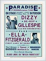 ポスター デニース ローレン Dizzy Gillespie and Ella Fitzgerald at Paradise 1947 額装品 ウッドハイグレードフレーム(ホワイト)