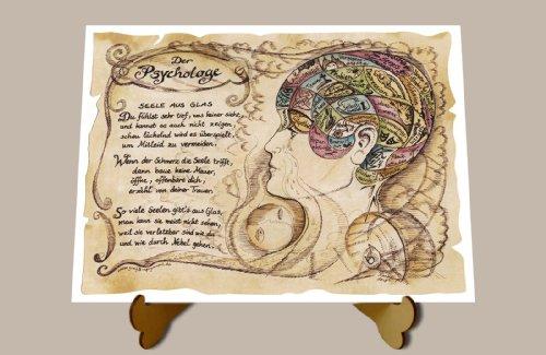 Die Staffelei Geschenk Psychologe Therapeut Zeichnung Color 30 x 21 cm mit Aufsteller