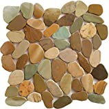 Interlocking Pebble Floor Tiles (1-Sheet) Kitchen, Bathroom, Deck and Patio Flooring | Indoor and Outdoor Use | Natural Auburn Golden Green Stones Tile | Quick and Easy Grout Installation