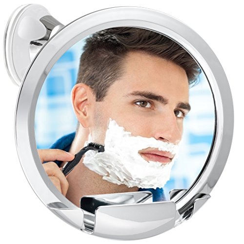 Fogless Shower Mirror with Built-In Razor Holder | 360° Rotation