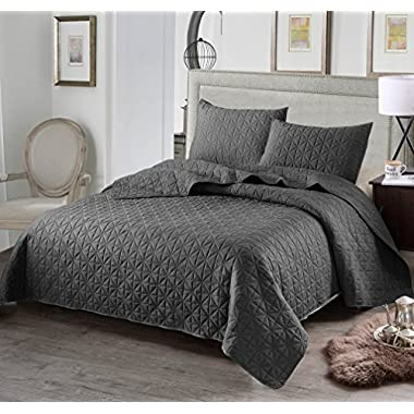 Exclusivo Mezcla 3-Piece King Size Quilt Set with Pillow Shams, as Bedspread/Coverlet/ Bed Cover(Solid Steel Grey) - Soft, Lightweight, Reversible& Hypoallergenic