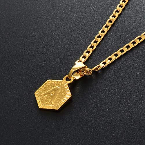 WH MaiYY Letters Necklaces For Women Men Girls English Initial Alphabet Charm Pendant Cuba Chains Gold Color #114006C