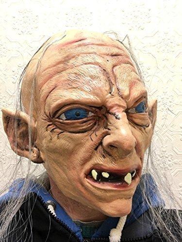 Rubber Johnnies TM Gollum Masque De Luxe Latex Tête Complète Sméagol Hobbit Anneaux Déguisement Masques