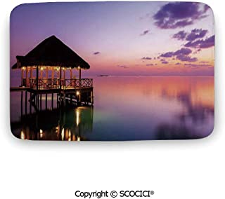 Bath Mat Coral Velvet Soft Shaggy,Tropical,Arbor with on Sea at Dramatic Night Paradise Maldives Sky Exquisite Coast View,PurpleComfortable Large Size Super Absorbent