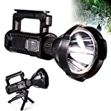 Rechargeable Torch 7000 Lumens LED Searchlight 6000mAh Super Bright Waterproof Handheld Flashlight Spotlight with USB Output as a Power Bank (Black-c)