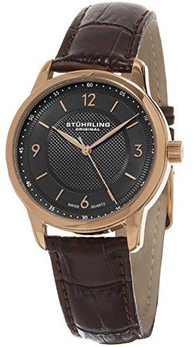 Original de los hombres de la Classique Stuhrling de cuarzo de reloj con esfera analógica gris y marrón de la correa de cuero 572,04