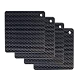 MPLANET Set of 4, Black Silicone Pot Holder - Pads, Non-Slip, Flexible, Durable Multi-Use Pot Holders