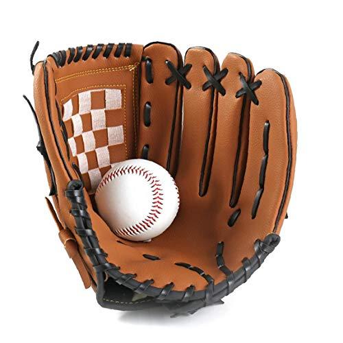 ZYCX123 1PC Sports Baseball und Softball Handschuh Profi-Baseball und Softball-Handschuh mit weichem PU-glowinger Solide Eindickung Pitcher für Kinder & Erwachsene (Brown, 9,5 inch) Ferien GFT