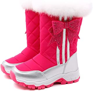 Kids Winter Snow Boots Waterproof Outdoor Warm Faux Fur Lined Shoes,Comfortable and Warm