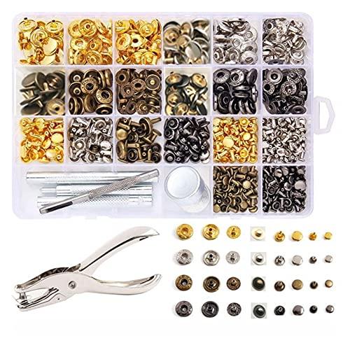 FSLLOVE FANGSHUILIN Remaches de Cuero, Remache Doble Rivet Tubular y 12.5mm Botón de Metal Snaps Tachuelas de Prensa, para DIY Craft Craft/Borts Decoración de reparación (Color : 240)