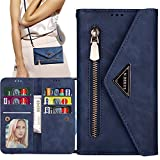 Harsel 7 Card Slots Zipper Pocket Magnetic PU Leather Crossbody Wallet Women Purse Folio Flip Handbag Case Protective Cover with Shoulder Strap for Apple iPhone 12 Pro Max (Navy Blue)