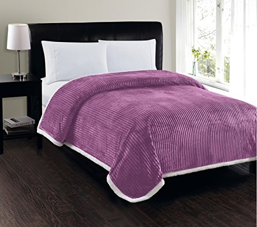 Elegant Comfort Best, Softest, Luxury Micro-Sherpa Blanket on Amazon! Heavy Weight Stripe Design Ultra Plush Blanket, Full/Queen, Lavender