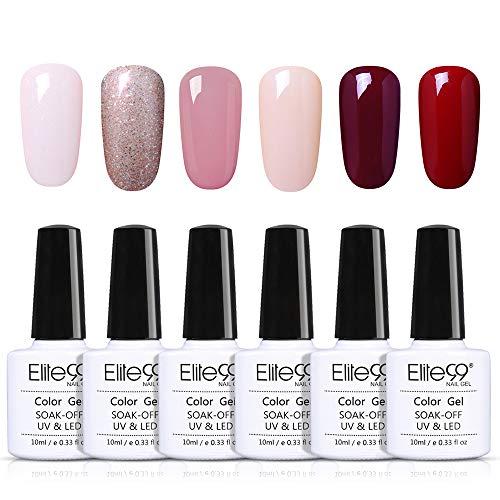 Elite99 Vernis Semi permanent 6pcs Lot Vernis à Ongles Nail Gel UV LED Soakoff Kit Manucure Pour Ongle, 10ml 01