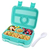 Kids Lunch Box Bento Box for Kids, Nomeca BPA-Free Leak Proof 4-Compartment Lunch Container with Spork, Microwave Safe Portion Control Meal Fruit Snack Packing for Girls Toddlers School Travel - Teal