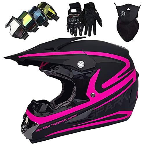 Casco Motocross Dirt Bike para Niños (S), Casco Integral Adultos & Jóvenes con Gafas/Guantes/Máscara Casco Protector Unisex Usado para Casco Motocicleta Casco Bicicleta Montaña - Negro Rosa