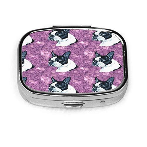 Boston Dog Head on Purple Marble Case Portable Mini Container Organizer with 2 Compartments Square Pill Box