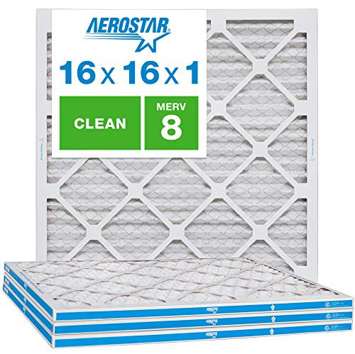 Aerostar Clean House 16x16x1 MERV 8 Pleated Air Filter, Made in The USA, (Actual Size: 15 3/4