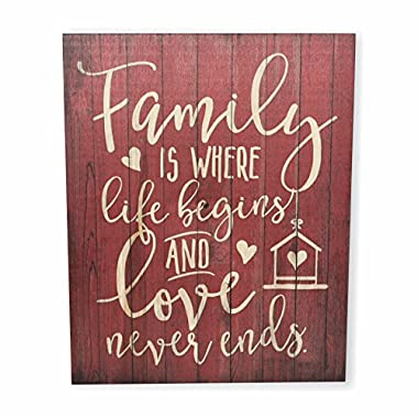 MRC Wood Products Family Is Where Life Begins And Love Never Ends Rustic Wall Sign 12x15