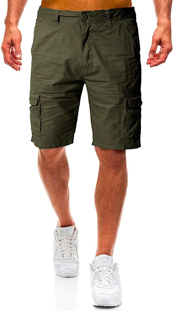 Cargo Shorts Forthery Men's Casual Pure Color Relaxed Fit Multi-Pocket Beach Work Trouser Cargo Shorts Pant(Army Green,31)