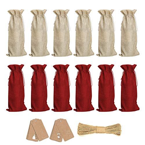 12 Pezzi Natale Babbo Rosso Copertura della Bottiglia di Vino Sacchetti Borse Lovely Natalizie Vino Rosso Coulisse Tessuto Non Pouch Table Dinner Decorazioni Festa a Casa Decori
