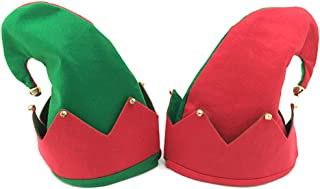 2pcs Christmas Elf Hat with Jingle Bells,Santa Jester Demon Cap for Holiday Festive Cosplay Costume Party Supplies