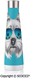 Double Wall Stainless Steel Travel Mug Insulated 17.5 oz / 500ml Yorkie Yorkshire Terrier Portrait With Cool Mirror Sunglasses Hand Drawn Cute Animal Art,Blue White
