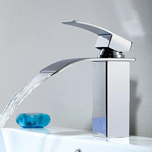 Homelody Waschtischarmatur Wasserfall Wasserhahn Bad Armatur Waschbecken Mischbatterie Badarmatur Waschtischbatterie Einhebelmischer Chrom
