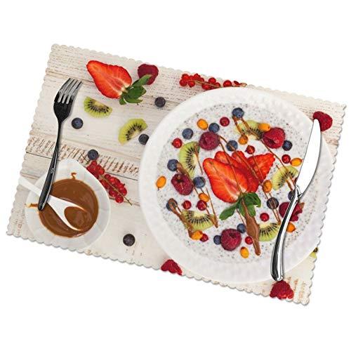 Affordable shop Healt Frühstücksbrettchen mit Beeren, Brei, Beeren, Früchte, Knollen, Tischsets für Esstisch, waschbar, hitzebeständig, 30,5 x 45,7 cm, 6er-Set