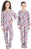 SleepytimePJs Baby, Toddler, and Kids' Fleece Footed Onesie Pajamas, Toddler - Candy Cane, 2T
