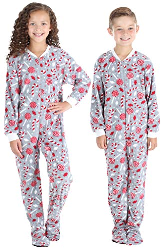 SleepytimePJs Baby, Toddler, and Kids' Fleece Footed Onesie Pajamas, Toddler - Candy Cane, 5