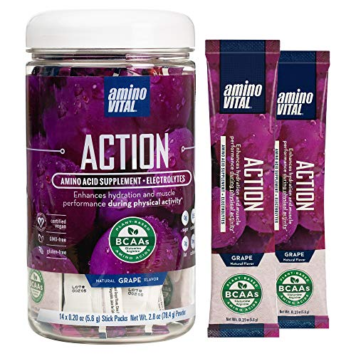 Amino VITAL Action- BCAA Amino Acids Pre Workout Packets with Electrolytes for Energy | No Caffeine, Keto, Vegan Supplement | 14 Single Serve | Grape