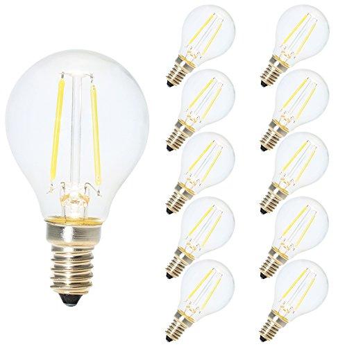 10X 2W G45 LED Filamento Mini globo bulbo Blanco frío 6500K Pequeño Edison Tornillo E14 LED antiguo Claro pelota de golf 20W incandescente equivalente (no regulable)