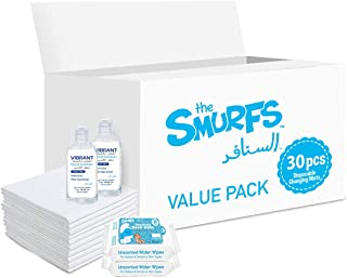 Smurfs Disposable Changing Mats 30 + Smurfs Water wipes 36 x2 + Vibrant Sanitizers 100 ML x2