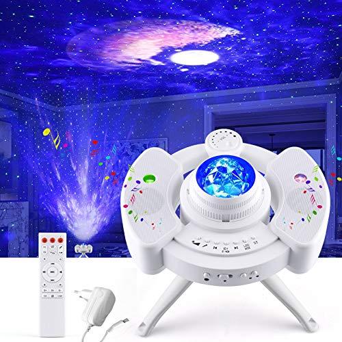 Sternenhimmel Projektor, LED Galaxy Light Sternenlicht Sternen Projektor Lampe mit Fernbedienung Starry Sternen, Mond/Wolke, Timer und Stereo Bluetooth für Kinder's Party Geburtztag