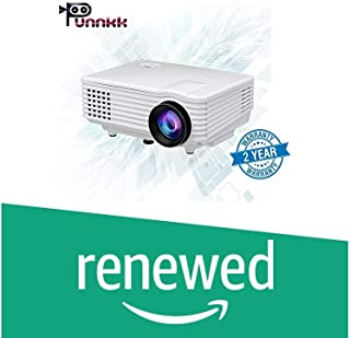 (Renewed) ooze Punnkk P5 800Lumens Mini LED 3D Projector Home Cinema Theater Supports 1080P Video (White)