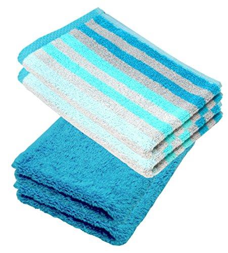Lashuma – Juego de toallas, manopla de baño, toalla de invitados, toalla de ducha, turquesa, gris, lila, azul, fucsia, beige, maíz amarillo, 100 % algodón, turquesa, 4er 30 x 50 cm