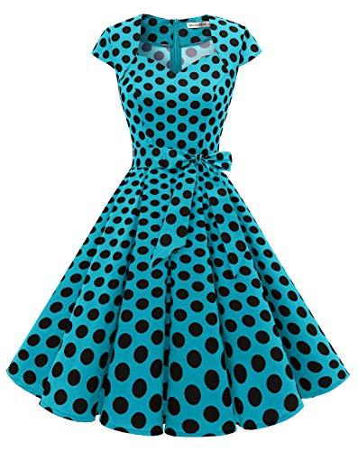 MuaDress Vintage Abito da Cocktail Party Rockabilly Anni '50 retrò Vestito Donna Estivo Swing con Scollo a Cuore 1960BlueBlackDotB S