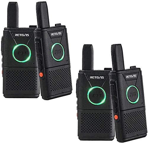 Retevis RT618 Walkie Talkie Mini 2 Way Radio Licentievrij 16 Kanalen VOX Dual PTT Ultradun PMR Radio set Oplaadbare USB-Oplaadkabel (2 paar, zwart)