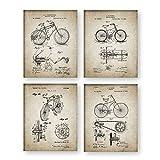 Diseño De Bicicleta De Impresión De Patente De Bicicleta De Cartel, Juego De 4 Cuadros De Invención De Bicicleta De Pintura De Lona Regalos De Decoración De Arte De Pared,Sin Marco,60×80cm