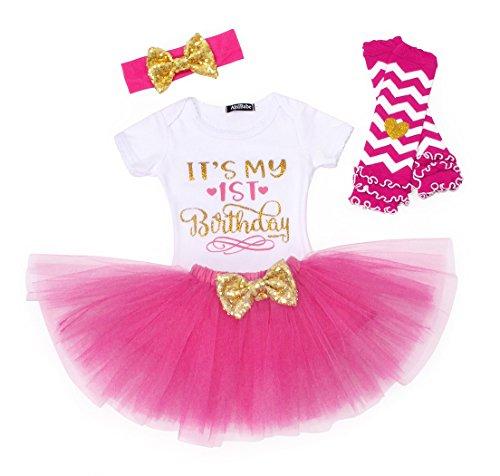 AmzBarley Baby Mädchen Kleider 1. Geburtstag Party Baby Outfit 3 Stück Outfits mit Strampler + Tutu Kleid + Stirnband
