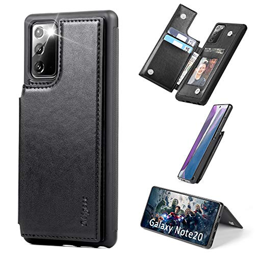 Migeec Samsung Galaxy Note 20 5g Case with Card Holder - Wallet Case [Shockproof] with PU Leather Card Pockets Flip Cover for Samsung Galaxy Note 20, Black