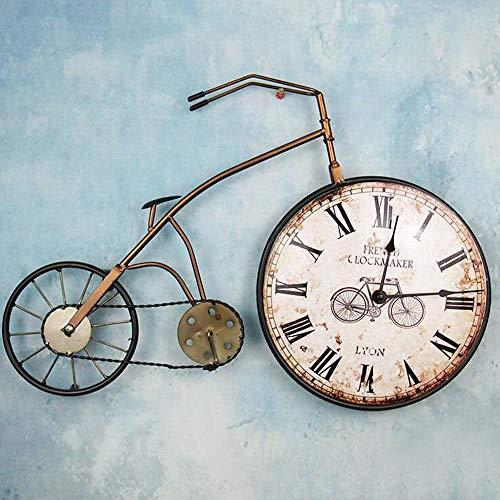 Reloj de pared para bicicleta o ciclista, Reloj de pared, Handcrafted de metal, bicicleta analógica, silencioso de cuarzo, reloj de oficina, crudo, aspecto rústico, 57,5 x 38 x 6 cm Retro