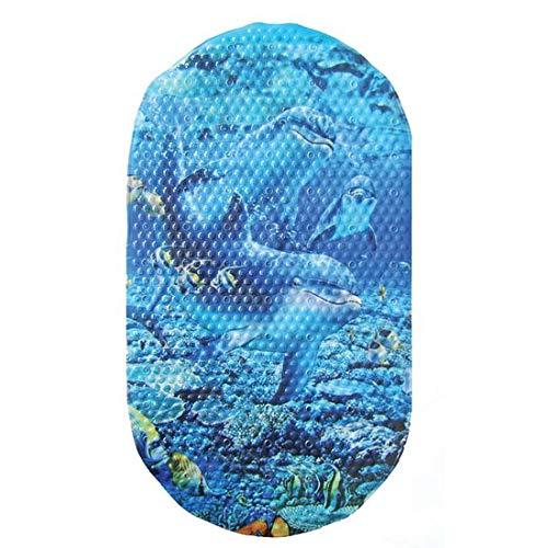 Sanixa PA178 Design Badewannen-Einlage Oval Anti-Rutsch Delfin Matte Duschmatte blau 69x39 cm für die Wanne rutschfest Mit Saugnäpfen für Ihr Bad