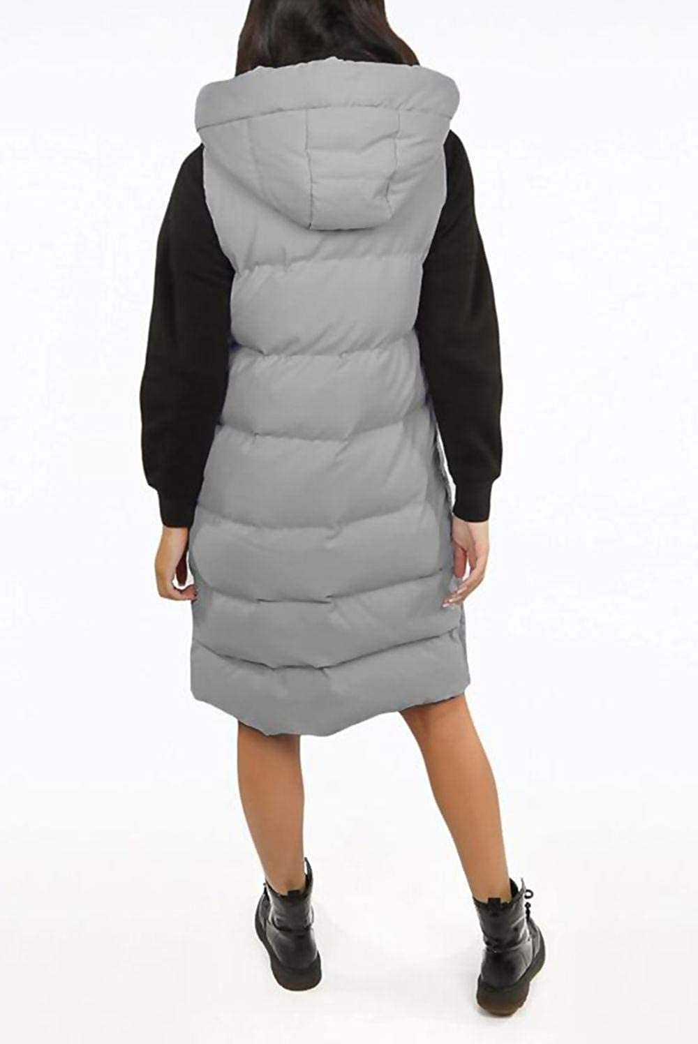 Crazy Girls Womens Padded Gilet Ladies Longline Hooded Jacket Quilted Winter Wear Long Coat