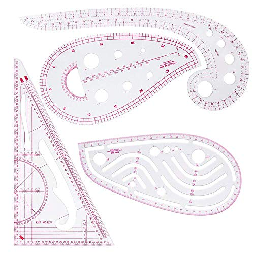 4 Piezas Ropa Moda Regla, Regla Métrica Francesa, Regla Métrica Francesa Plástico, Para Coser Costura Patrón Patrón Plantilla Dibujo Regla Corte Multiusos